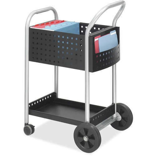 """Safco Scoot Mail Cart - 2 Shelf - 136.08 kg Capacity - 4 Casters - 3"""" (76.20 mm), 8"""" (203.20 mm) Caster Size - Steel - x 22"""" Width x 27"""" Depth x 40.5"""" Height - Black, Silver - 1 Each"""
