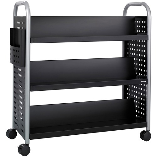 """Safco Scoot Double Sided Book Cart - 6 Shelf - 4 Casters - 3"""" (76.20 mm) Caster Size - Steel - x 41.3"""" Width x 17.8"""" Depth x 41.3"""" Height - Black, Silver - 1 Each"""