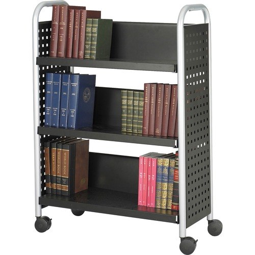 """Safco Scoot Single Sided Book Cart - 3 Shelf - 4 Casters - 3"""" (76.20 mm) Caster Size - Steel - x 33"""" Width x 14.3"""" Depth x 44.3"""" Height - Black, Silver - 1 Each"""