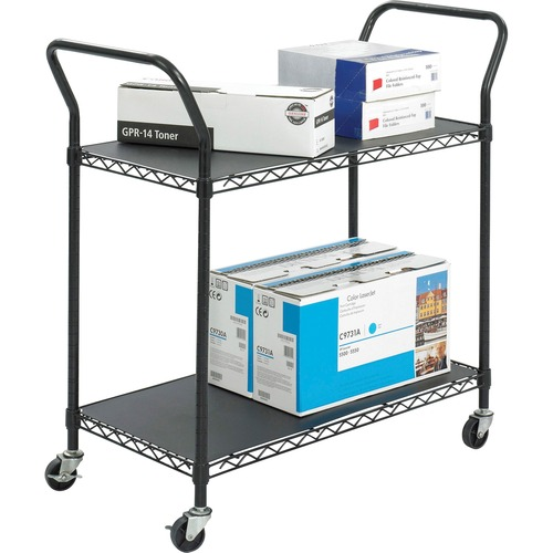 """Safco Wire Utility Cart - 2 Shelf - 181.44 kg Capacity - 4 Casters - 3"""" (76.20 mm) Caster Size - Plastic - x 43.8"""" Width x 19.3"""" Depth x 41"""" Height - Black - 1 Each"""