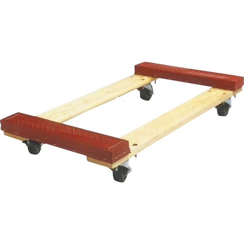 """Sparco Cross Member Dolly - 453.59 kg Capacity - 4 Casters - 4"""" (101.60 mm) Caster Size - Wood - x 18"""" Width x 30"""" Depth x 6.1"""" Height - Red - 1 Each"""