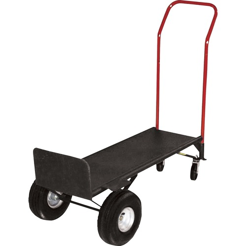 """Sparco Convertible Hand Truck with Deck - 362.87 kg Capacity - 2 Casters - 10"""" (254 mm) Caster Size - Steel - x 21"""" Width x 18"""" Depth x 47"""" Height - Gray - 1 Each"""