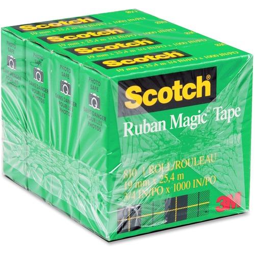 "3M Scotch Magic Transparent Tape - 27.3 yd (25 m) Length x 0.71"" (18 mm) Width - 1"" Core - 4 / Pack"