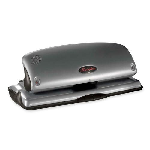 """Swingline Protec Safety Paper Punch - 3 Punch Head(s) - 30 Sheet - 9/32"""" Punch Size - 11.93"""" (303.02 mm) x 2.68"""" (68.07 mm) x 5.34"""" (135.64 mm) - Black, Silver"""