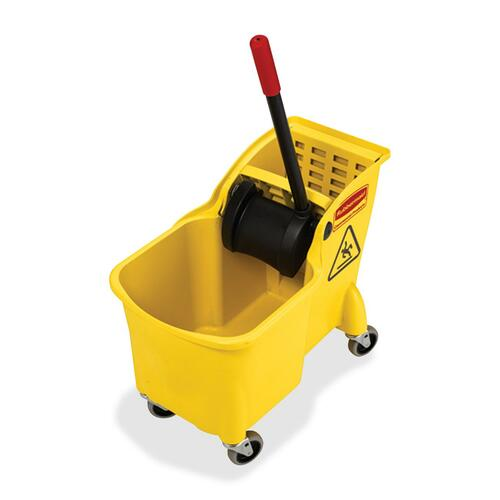 """Rubbermaid Tandem Bucket and Wringer Combo - 29.34 L - 32.25"""" (819.15 mm) x 13.25"""" (336.55 mm) - Yellow - 1 Each"""