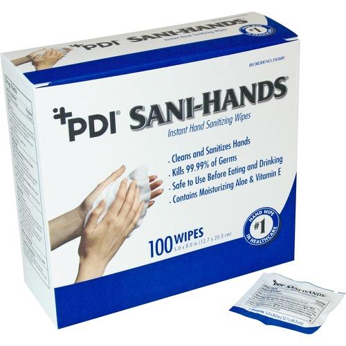 "Sani-Hands ALC Individual Wipes - 5"" x 8"" - White - Anti-septic, Anti-bacterial - For Hand - 100 Per Box - 100 / Box"