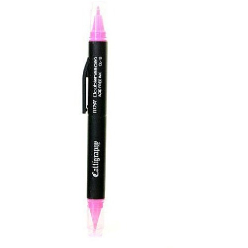 Itoya Doubleheader Calligraphy Pen - 1.5 mm Pen Point Size - Chisel Pen Point Style - Pink Water Based Ink - 1 Each