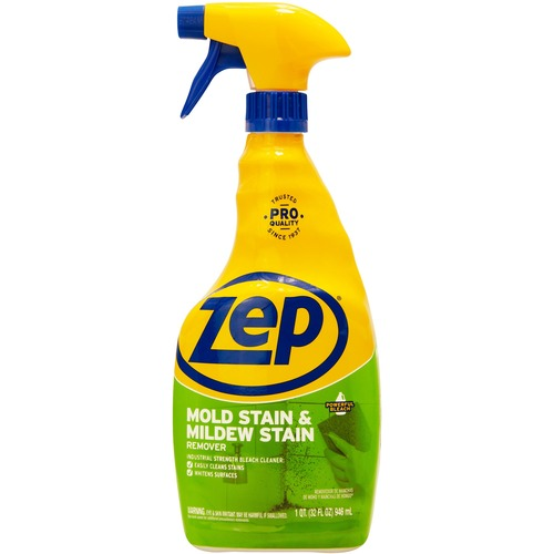 Zep No-Scrub Mildew Stain Remover with bleach - Spray - 32 fl oz (1 quart) - 1 Each - Blue