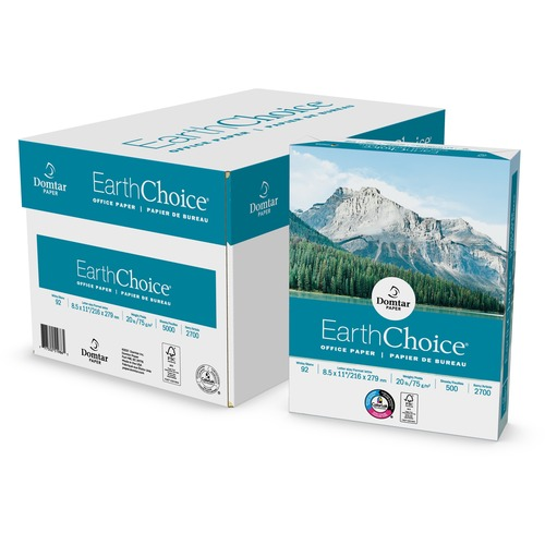 """Domtar EarthChoice Office Paper - Letter - 8 1/2"""" x 11"""" - 20 lb Basis Weight - 5000 / Carton - White"""