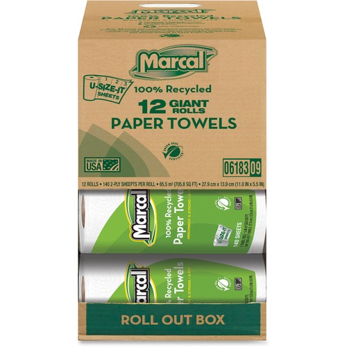 Marcal Giant Paper Towel in a Roll Out Carton - 2 Ply - 140 Sheets/Roll - White - Paper - Perforated - For Office Building, Washroom, Restroom - 12 /