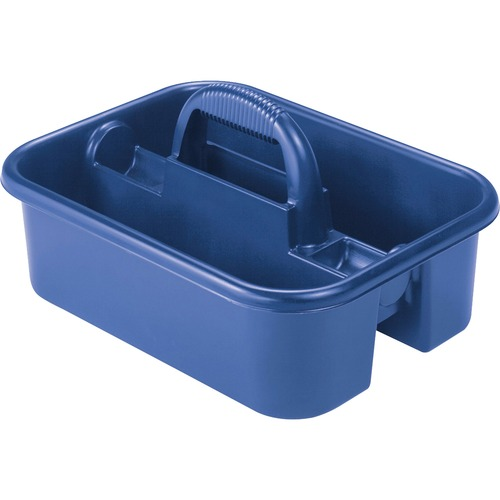 """Akro-Mils Handheld Tote Caddy - External Dimensions: 13.8"""" Width x 18.4"""" Depth x 9"""" Height - Polymer - Blue - For Tool - 1 Each"""