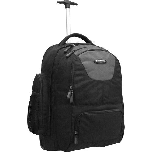 "Wheeled Backpack,w/Organizational Pockets,14""x8""x21"",Black"