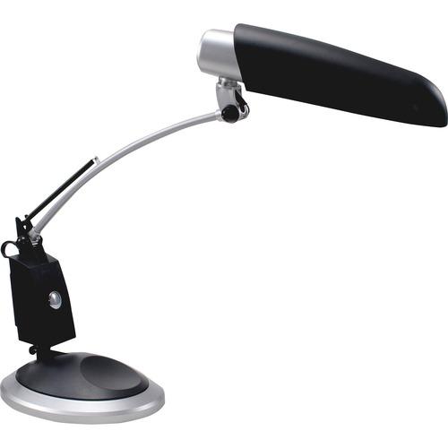 Ledu Full Spectrum Desk Lamp - 1 x 13 W Fluorescent Bulb - Swivel Arm, Weighted Base - Black, Silver
