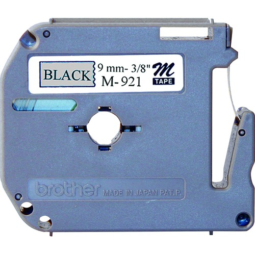 """Brother P-touch Nonlaminated M Series Tape Cartridge - 3/8"""" - Black, Silver - 1 Each"""