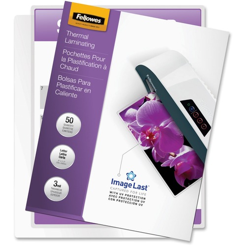 """Fellowes Thermal Laminating Pouches - ImageLast™, Jam Free, Letter, 3 mil, 50 pack - Sheet Size Supported: Letter - Laminating Pouch/Sheet Size: 9"""" Width x 11.50"""" Length x 3 mil Thickness - Type G - Glossy - for Document - Pre-trimmed, Durable, UV R"""