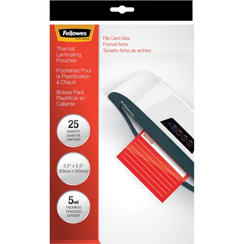 FELLOWES 25PK LAMINATING POUCHES INDEX CARD 5MIL