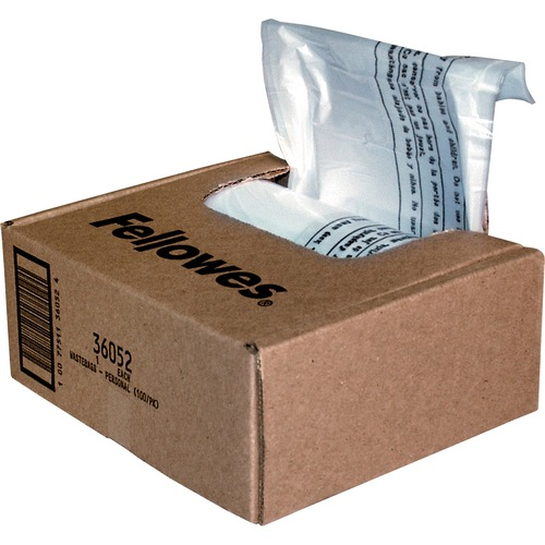 """Fellowes Waste Bags for Small Office / Home Office Shredders - 26.50 L - 26"""" (660.40 mm) Height x 15"""" (381 mm) Width x 9"""" (228.60 mm) Depth - Plastic - Clear"""