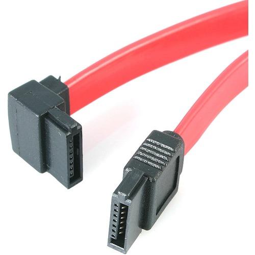 StarTech.com 18in SATA to Left Angle SATA Serial ATA Cable - F/F - 1 x Male SATA - 1 x SATA - Red