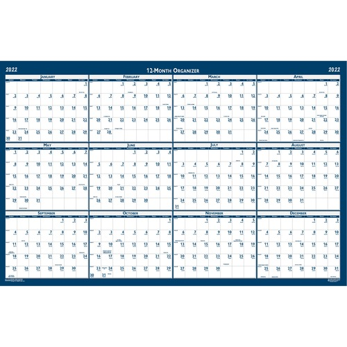 """House of Doolittle Dated 66"""" Laminated Wall Planner - Julian Dates - Monthly - 1 Year - January 2022 till December 2022 - 66"""" x 33"""" Sheet Size - 2"""" x 2.25"""" Block - Blue, Gray - Paper - Laminated - 1 Each"""