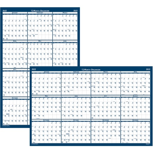"""House of Doolittle Write-on Laminated Wall Planner - Professional - Julian Dates - Monthly - 1 Year - January 2022 till December 2022 - 18"""" x 24"""" Sheet Size - 0.75"""" x 1"""" Block - Blue, Gray - Paper - 18"""" Height - Laminated, Erasable, Write on/Wipe off, Rem"""