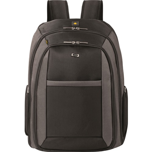 """Solo Sterling Carrying Case (Backpack) for 16"""" Notebook - Black - Ballistic Poly, Polyester - Checkpoint Friendly - Backpack Strap, Handle - 12.75"""" (323.85 mm) Height x 17.50"""" (444.50 mm) Width x 5"""" (127 mm) Depth - 1 Pack"""