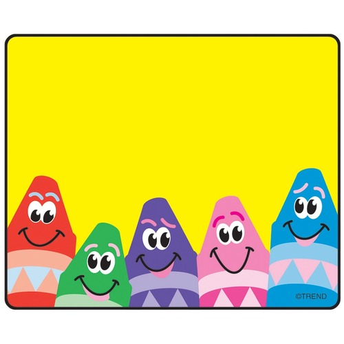 """Trend Colorful Crayons Terrific Labels - 2 1/2"""" x 3"""" Length - Self-adhesive Adhesive - Rectangle - 36 / Pack"""