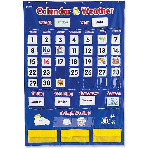 Learning Resources Calendar/Weather Pocket Chart - Theme/Subject: Learning - Skill Learning: Weather, Holiday, Day, Month, Celebration, Season, Week, Calendar - 3-6 Year - 138 / Each
