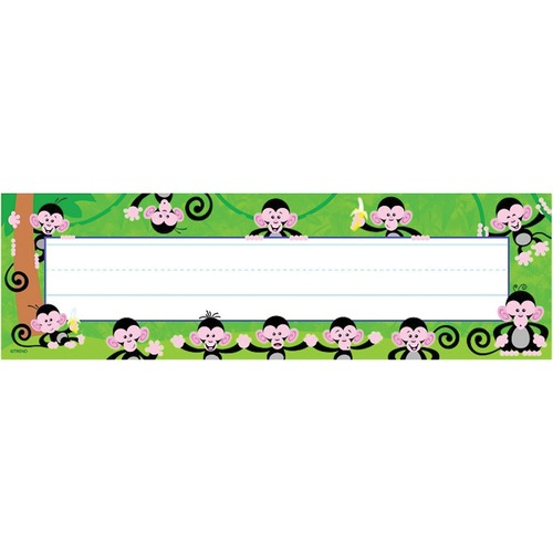 """Trend Monkey Mischief Desk Toppers Name Plates - 36 / Pack - 9.50"""" (241.30 mm) Width x 2.88"""" (73.03 mm) Height"""