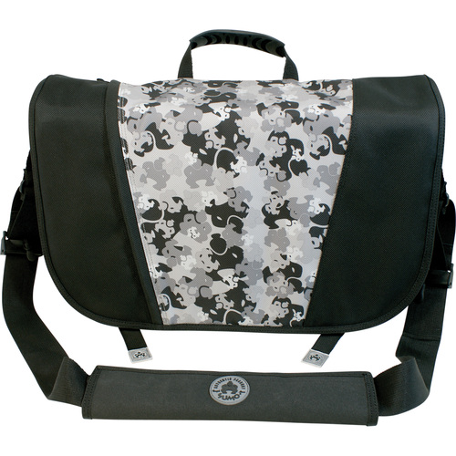 MESSENGER BAG BLACK/SLVR ACCOMMODATES 17IN SCRN