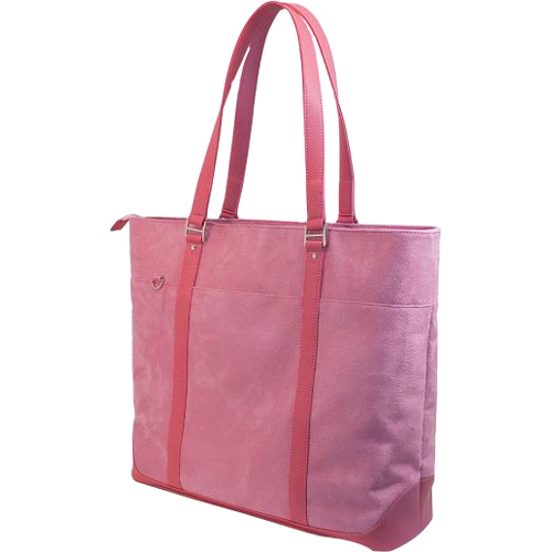 PINK FAUX-CROC/SUEDE TOTE FOR 16 S