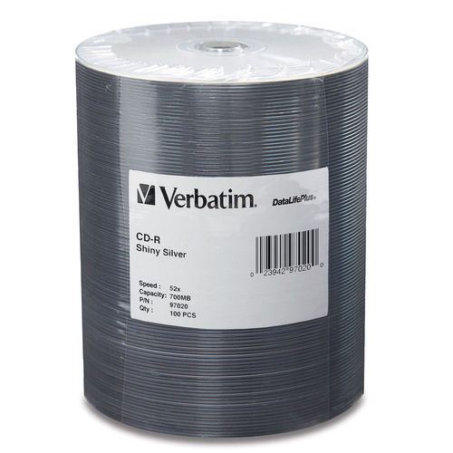 Verbatim CD-R 700MB 52X DataLifePlus Shiny Silver Silk Screen Printable | 100pk Tape Wrap Spindle