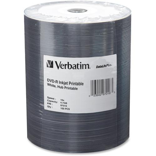 Verbatim DVD-R 16x 4.70 GB 100 Pack Inkjet Printable (97016)