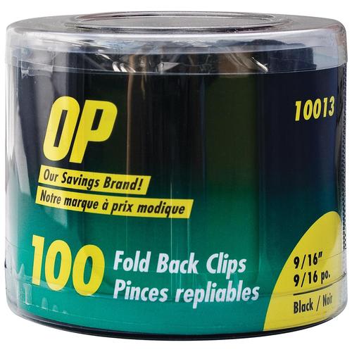 "OP Brand Foldback Clip - 0.6"" Size Capacity - 100 / Pack - Black - Metal"