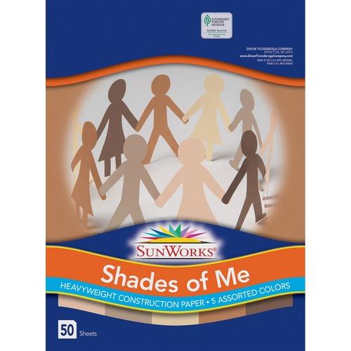 "SunWorks Multicultural Construction Paper - Art, Craft - 12"" (304.80 mm)Width x 9"" (228.60 mm)Length - 50 / Pack - Assorted"