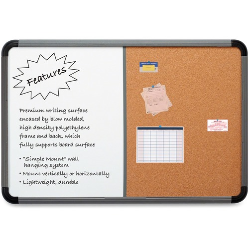 """Iceberg Collaboration Ingenuity Combo Board - 36"""" Height x 48"""" Width - Cork, White Surface - Lightweight, Durable, Ghost Resistant - Charcoal Polyethy"""