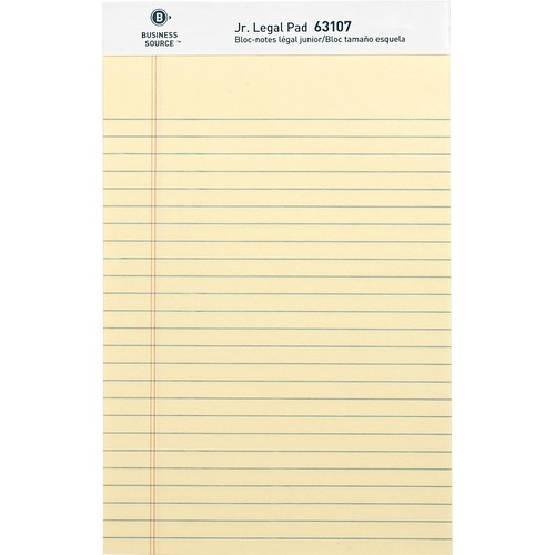 """Business Source Micro - Perforated Legal Ruled Pads - Jr.Legal - 50 Sheets - 0.28"""" Ruled - 16 lb Basis Weight - 8"""" x 5"""" - Canary Paper - Micro Perforated, Easy Tear, Sturdy Back - 12 / Dozen"""