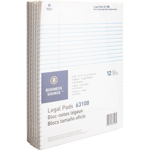 """Business Source Micro-Perforated Legal Ruled Pads - 50 Sheets - 0.34"""" Ruled - 16 lb Basis Weight - 8 1/2"""" x 11 3/4"""" - White Paper - Micro Perforated, Easy Tear, Sturdy Back - 12 / Dozen"""