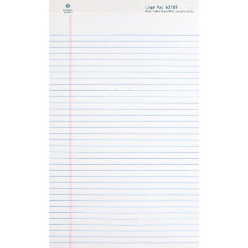 """Business Source Micro - Perforated Legal Ruled Pads - Legal - 50 Sheets - 0.34"""" Ruled - 16 lb Basis Weight - 8 1/2"""" x 14"""" - White Paper - Micro Perforated, Easy Tear, Sturdy Back - 12 / Dozen"""