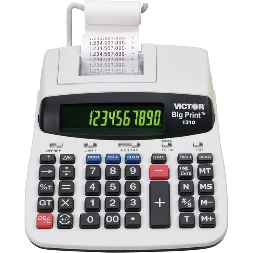 """Victor 1310 Printing Calculator - Thermal - 6 lps - Date, Clock, Independent Memory - 10 Digits - Dot Matrix - AC Supply Powered - 2.5"""" x 7.8"""" x 10"""" - Multi - 1 Each"""