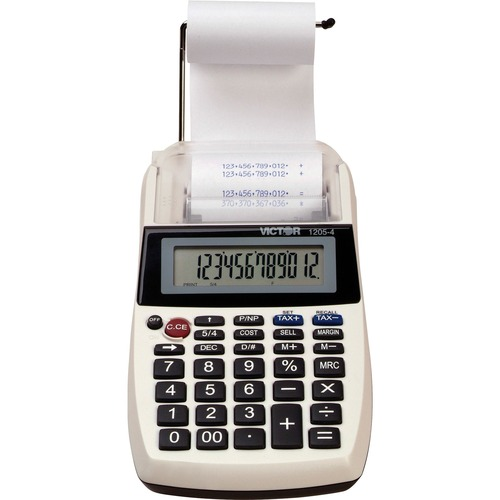 """Victor 12054 Printing Calculator - 2 - Environmentally Friendly, Large Display, Independent Memory, 3-Key Memory - Power Adapter Powered - 1.8"""" x 4"""" x 8"""" - Multi, Black - 1 Each"""