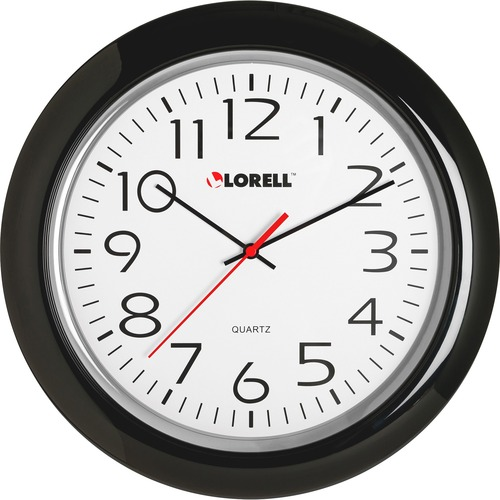 "Lorell 13-1/4"" Round Quartz Wall Clock - Analog - Quartz"