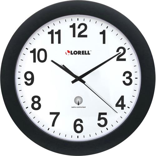 "Lorell 12"" Round Radio Controlled Wall Clock - Analog - Quartz - Atomic"