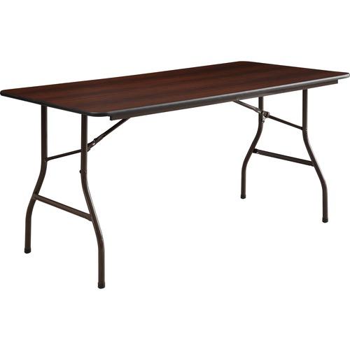 """Lorell Economy Folding Table - Melamine Rectangle Top - 60"""" Table Top Length x 30"""" Table Top Width x 0.6"""" Table Top Thickness - 29"""" Height - Mahogany"""