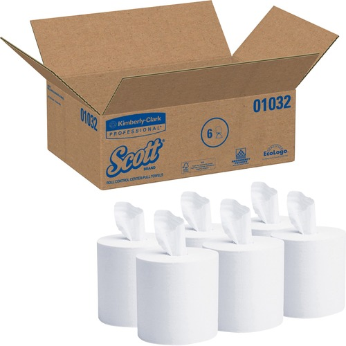 "Scott Roll Control Center-Pull Paper Towels - 1 Ply - 8"" x 12"" - 700 Sheets/Roll - White - Paper - Absorbent - 6 / Carton"