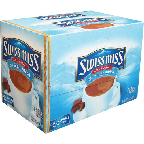Swiss Miss No Sugar Added Hot Cocoa Mix - Powder - Milk Chocolate Flavor - 15.6 g - 24 / Box