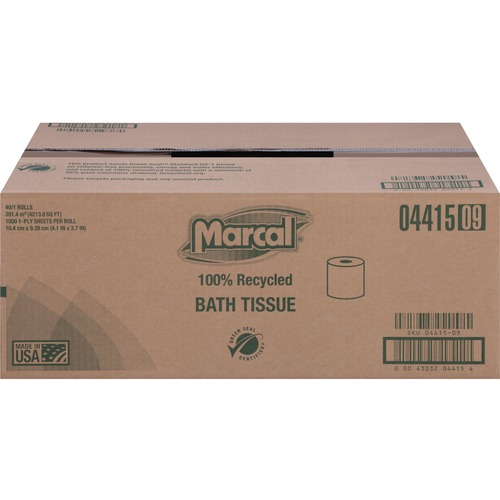Marcal Premium Recycled Bathroom Tissue - 1 Ply - 1000 Per Roll - 40 / Carton - White