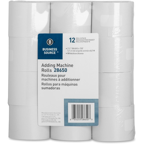 """Business Source Receipt Paper - White - 2 1/4"""" x 150 ft - 12 / Pack - SFI"""