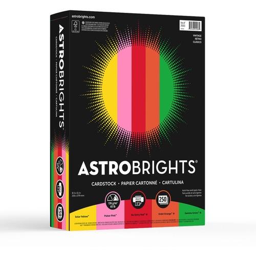"Astrobrights Colored Cardstock - ""Vintage"" 5-Color Assortment - Letter - 8 1/2"" x 11"" - 65 lb Basis Weight - 250 / Pack - FSC"