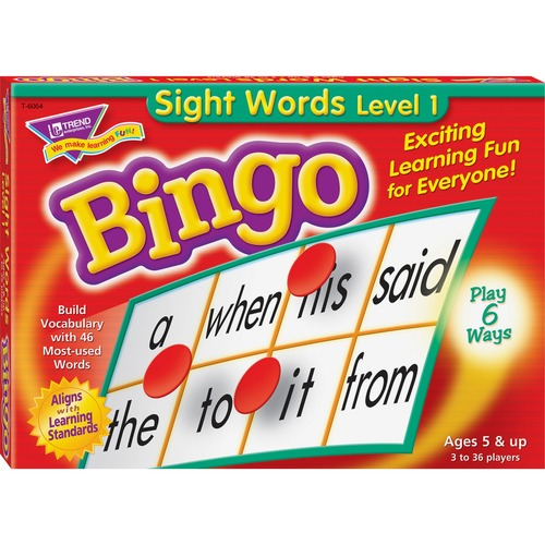 Trend Sight Words Bingo Game - Theme/Subject: Learning - 5-8 Year - Multi