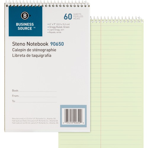 """Business Source Steno Notebook - 60 Sheets - Coilock - Gregg Ruled - 6"""" x 9"""" - Green Tint Paper - Stiff-back - 1Each"""